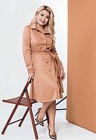 Модное платье-–рубашка из крепа 58904 (48–58р) в расцветках