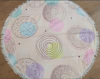 Круглое пляжное махровое покрывало Пончики 150*150