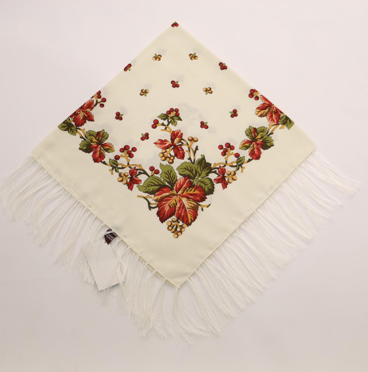Хустка молочна вовняна з квітами т80/140