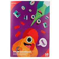 Картон цветной двусторон.(10лист/10цвет), А4 Kite Jolliers