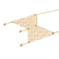 Кружевное ожерелье ручной работы золотое
