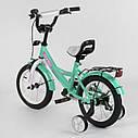 """Двухколесный детский велосипед бирюзовый с розовым ручной тормоз звоночек Corso 14"""" деткам 3-5 лет, фото 2"""