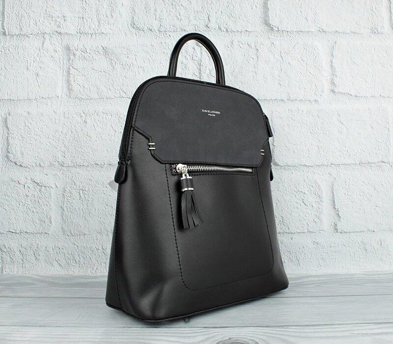 Рюкзак женский кожзам черный David Jones 5915-2