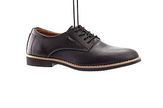 Подростковые туфли кожаные весна/осень черные Yuves М5 (Trade Mark)