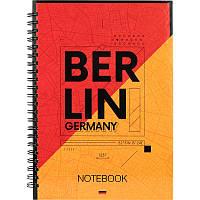 Блокнот на спирали в твердой обложке, А5, 96 листов, Berlin