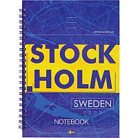 Блокнот на спирали в твердой обложке, А5, 96 листов, Stockholm