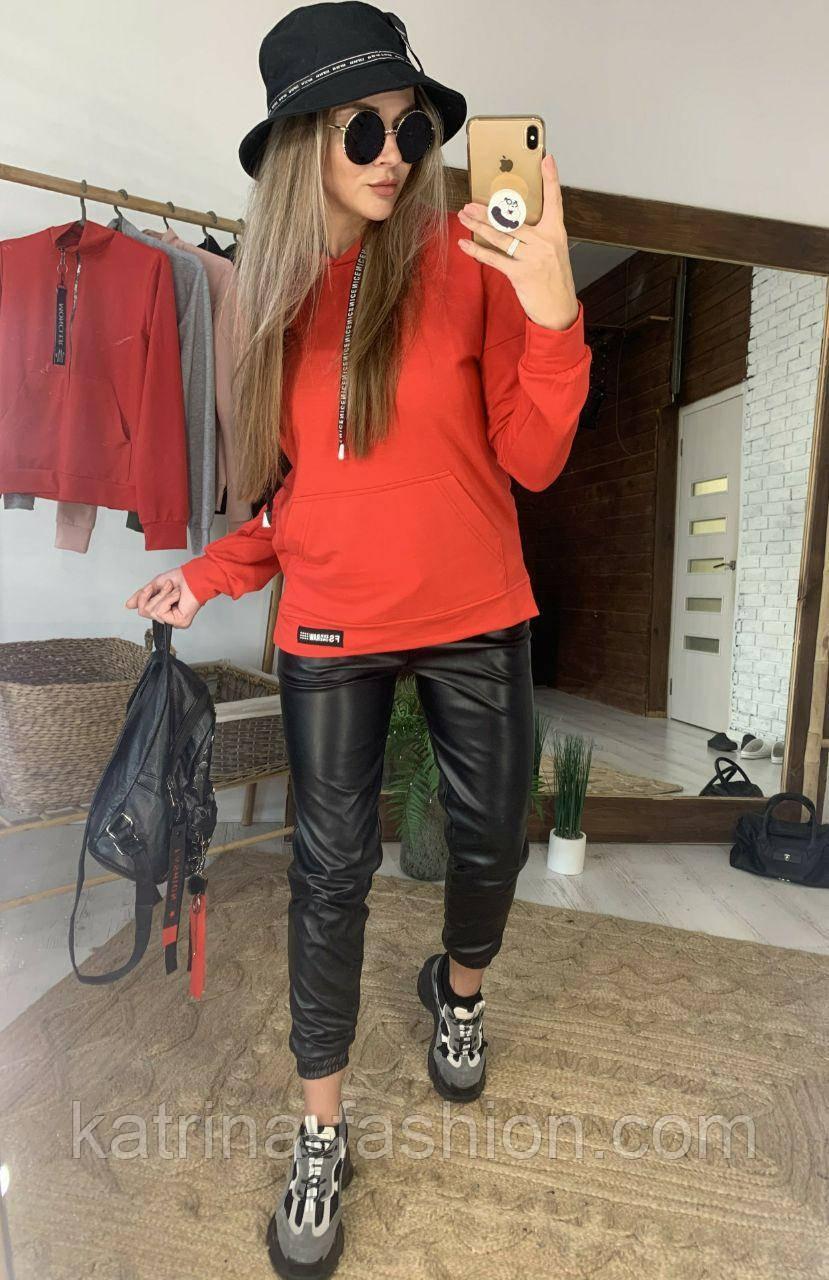 Женский костюм: худи с капюшном удлиненное и джоггеры из эко-кожи (в расцветках)