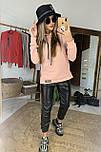 Женский костюм: худи с капюшном удлиненное и джоггеры из эко-кожи (в расцветках), фото 3