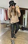 Женский костюм: худи с капюшном удлиненное и джоггеры из эко-кожи (в расцветках), фото 10