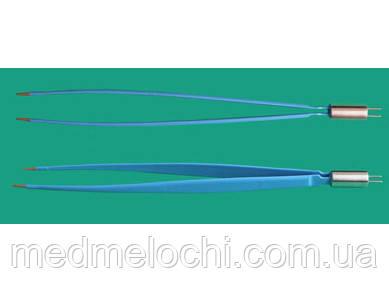 Пінцет біполярний електрохірургічний 250мм, бранши 10х3х1