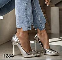 Жіночі туфлі срібло,туфлі на випускний, фото 1