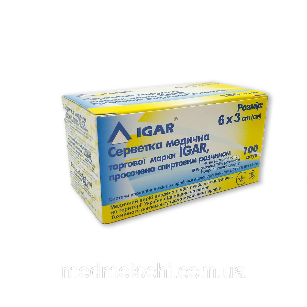 Серветка Igar, просочена спиртовим розчином, 6 х 3 см 100шт/уп