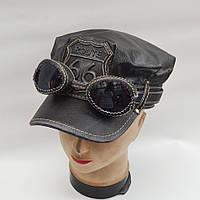 Мужская байкерская кепка с очками из натуральной кожи