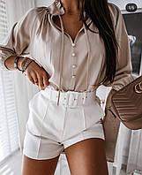 Блузка женская нарядная белая пудра беж