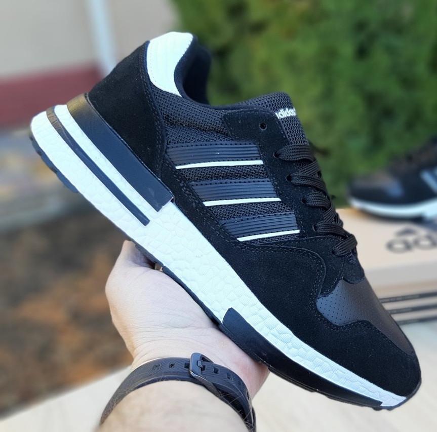 Мужские кроссовки Adidas ZX 500 черные с белым. Живое фото (Реплика ААА+)