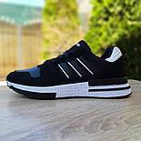 Мужские кроссовки Adidas ZX 500 черные с белым. Живое фото (Реплика ААА+), фото 6