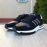 Мужские кроссовки Adidas ZX 500 черные с белым. Живое фото (Реплика ААА+), фото 2