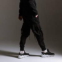 Карго штаны (джоггеры) мужские черные с лямками бренд ТУР модель Ёсида (Yoshida) размер ХС,С,М,Л,ХЛ
