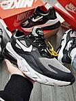 Чоловічі кросівки Nike Air Max 270 React (чорно-сірі) 329PL, фото 2