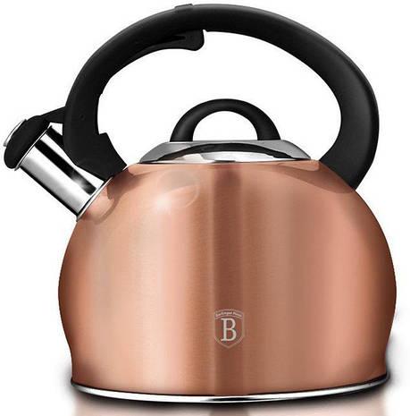 Чайник со свистком 3,0 л из нержавеющей стали, капсульное дно, индукция, ручка чёрная SOFT TOUCH, фото 2