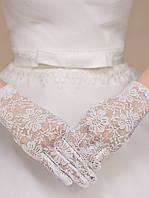 Кружевные белые свадебные перчатки, фото 1