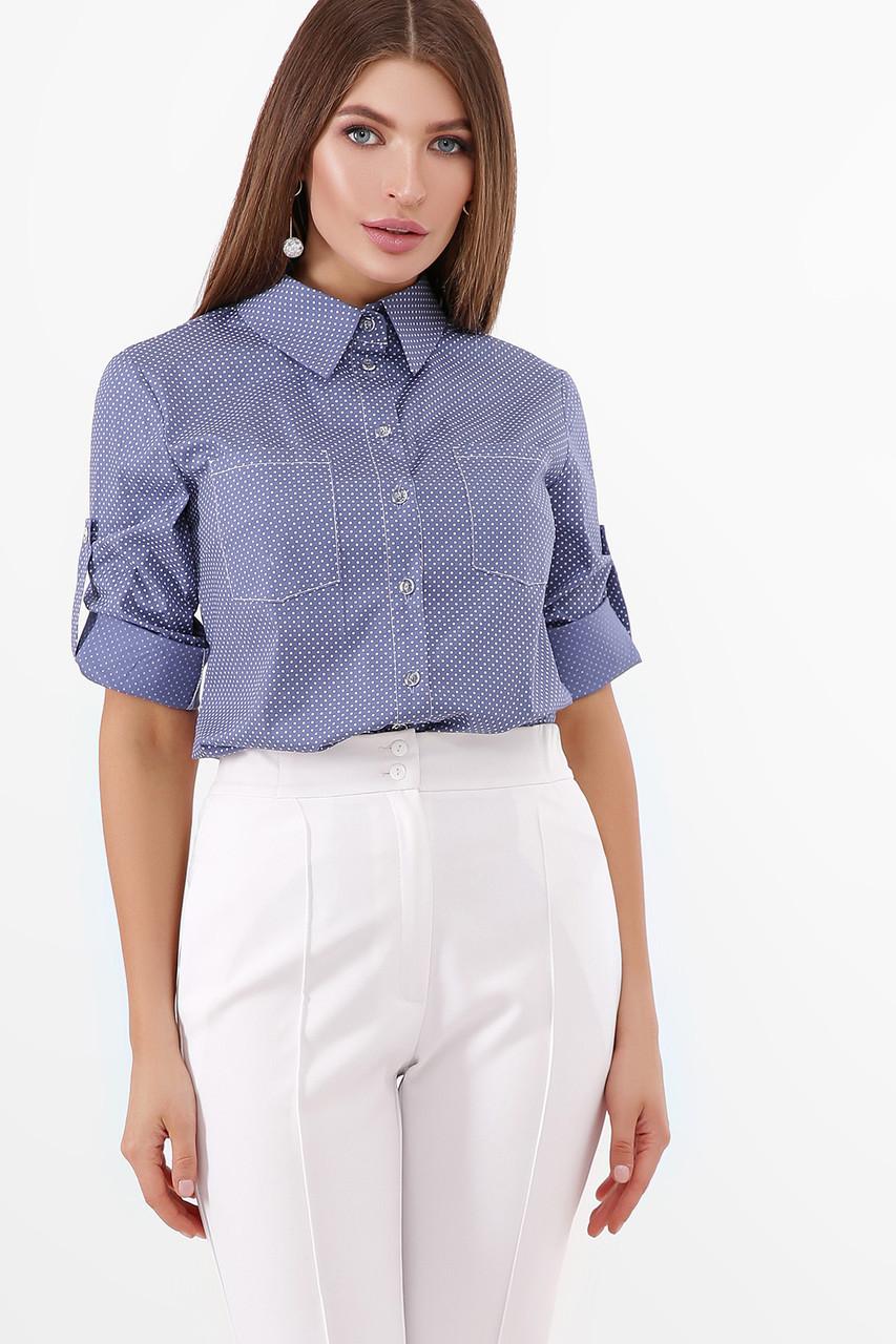 Коттоновая базовая рубашка женская блузка, размер от 42 до 48