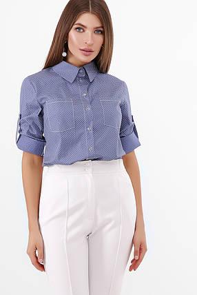 Коттоновая базовая рубашка женская блузка, размер от 42 до 48, фото 2