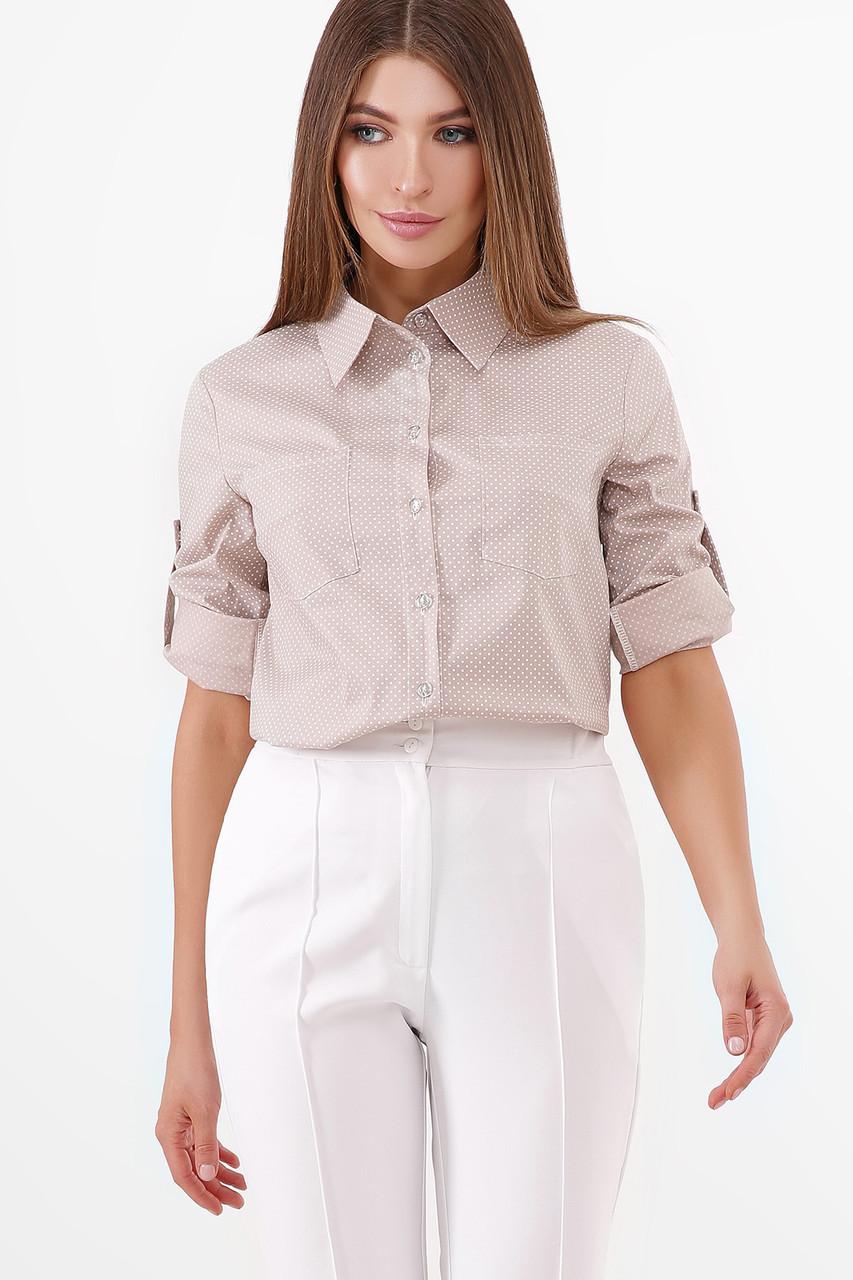 Бежева базова сорочка без малюнка жіноча блуза, розмір від 42 до 48