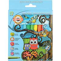 """Фломастеры Koh-i-Noor 1012СВ """"Совята"""", набор из 12 цветов, картонная упаковка"""