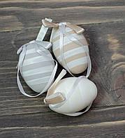 Яйцо  5 см подвесное серое в полоску, фото 1