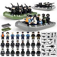 24 фигурки Лего военных и 2 лодки swat спецназовцы армия лего Lego BrickArms