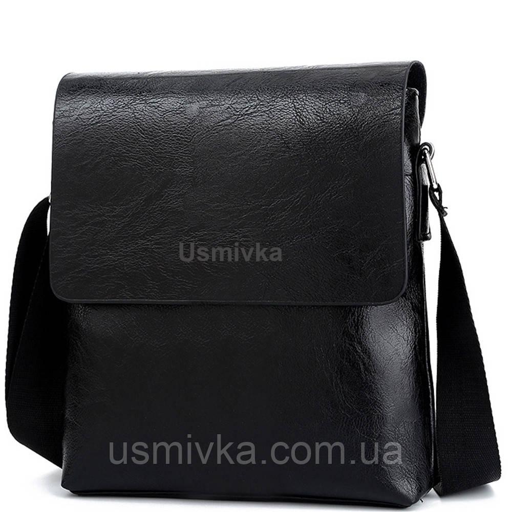 Сумка мужская Usmivka для документов черная 54309