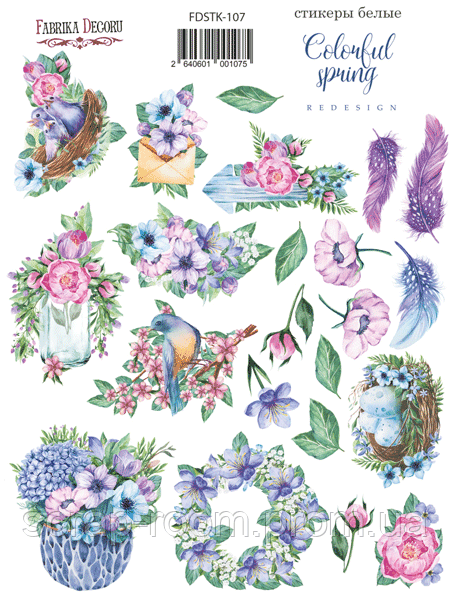 Набор наклеек (стикеров) 22 шт Colorful spring #107 Фабрика Декора