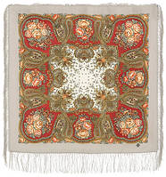 Сольвейг 1549-4, павлопосадский платок шерстяной  с шелковой бахромой