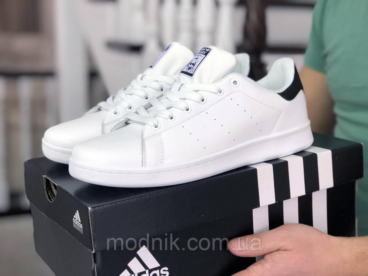 Мужские кроссовки Adidas Stan Smith (бело-черные) 9075
