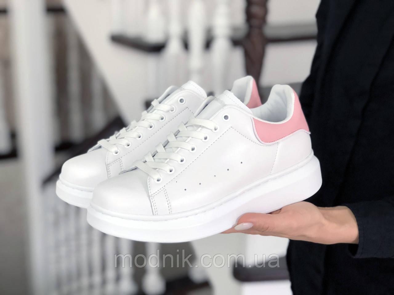 Женские кроссовки Alexander McQueen (бело-розовые) 9083