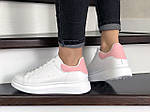 Женские кроссовки Alexander McQueen (бело-розовые) 9083, фото 2