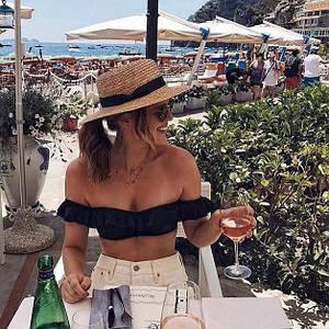 Женская пляжная соломенная шляпа канотье