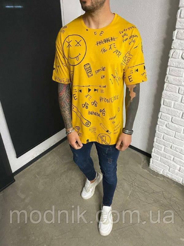 Мужская модная футболка с надписями и картинками (желтая) Турция - Ada1112