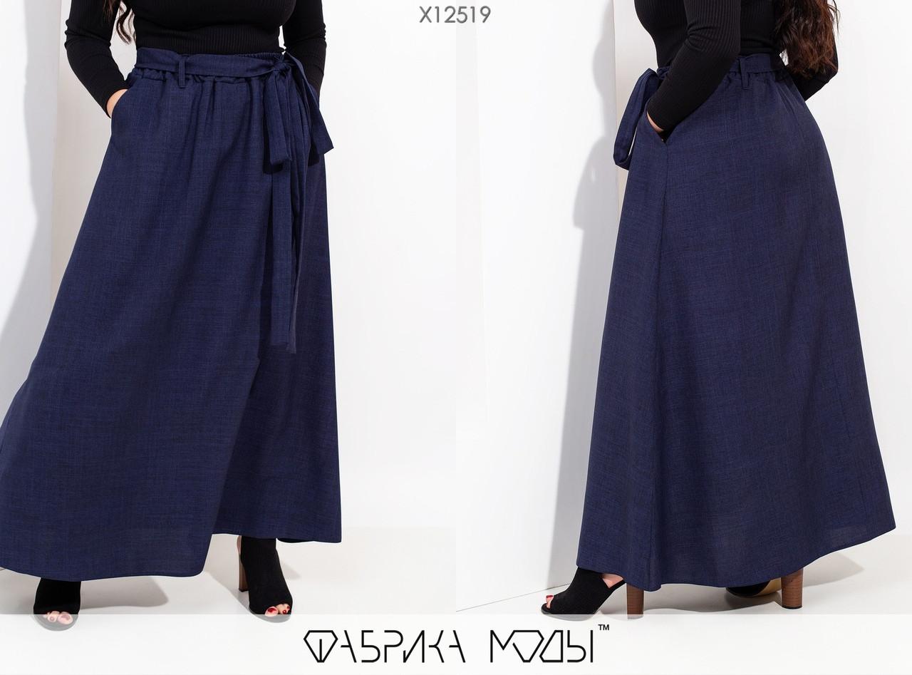 Длинная женская юбка на запах из льна с 48 по 54 размер