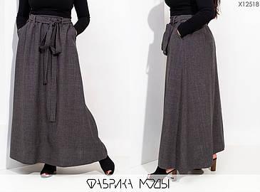 Длинная женская юбка на запах из льна с 48 по 54 размер, фото 2