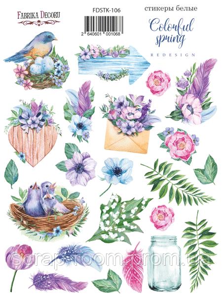 Набор наклеек (стикеров) 23 шт Colorful spring #106 Фабрика Декора