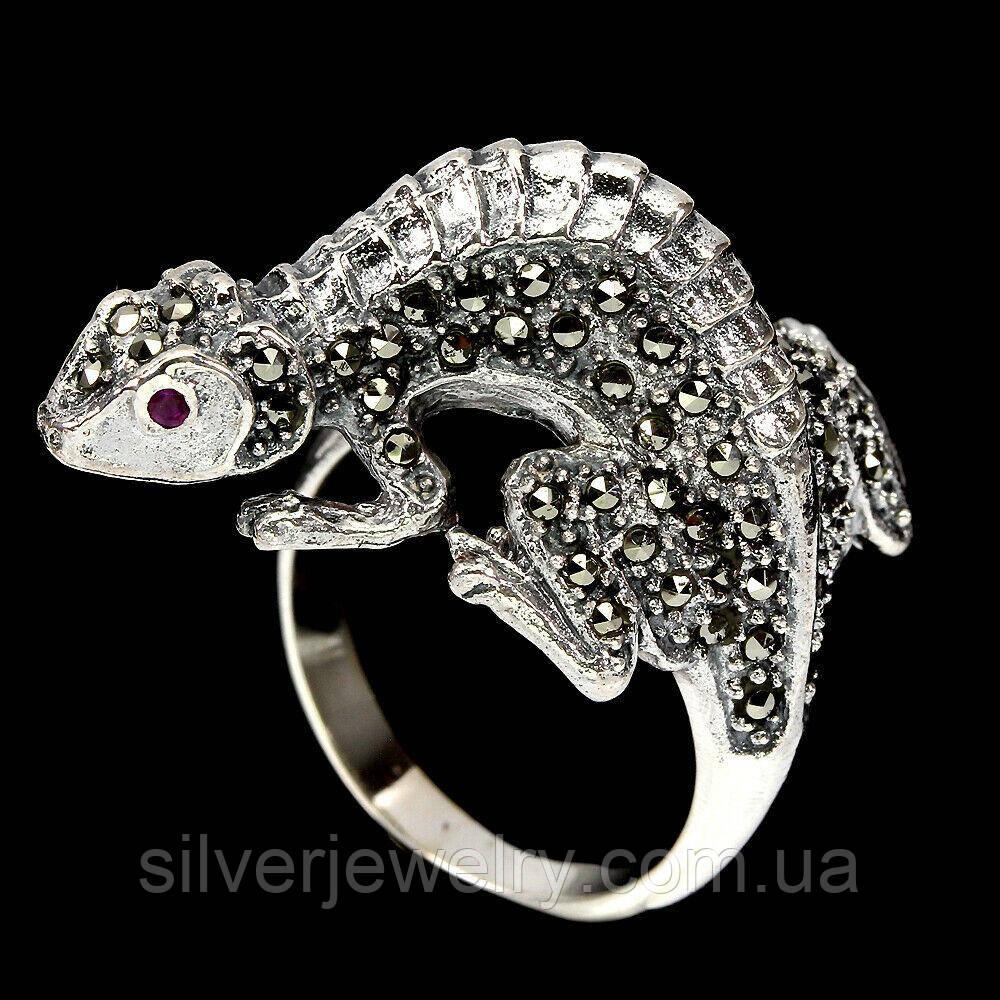Серебряное кольцо ГЕККОН с МАРКАЗИТАМИ  (натуральный), серебро 925 пр. Размер 18,5
