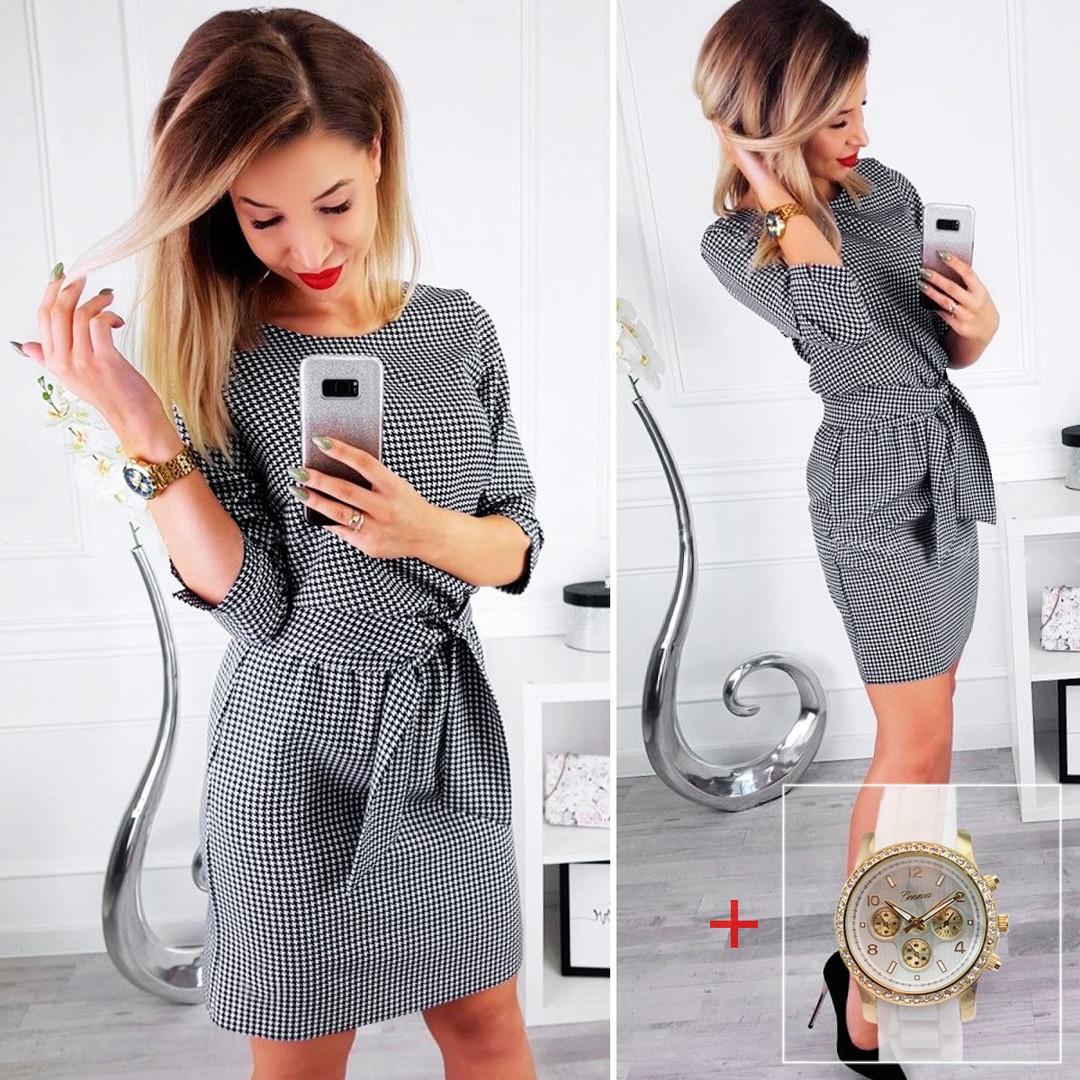 Платье в принт гусиная лапка (Код MF-203)  О В