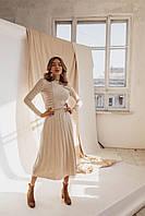 Женское вязаное платье: ажурный верх и юбка-плиссе (в расцветках)
