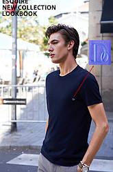 "Мужская футболка 100% Хлопок Марка ""DOOMILAI"" Арт.1842(синий)"
