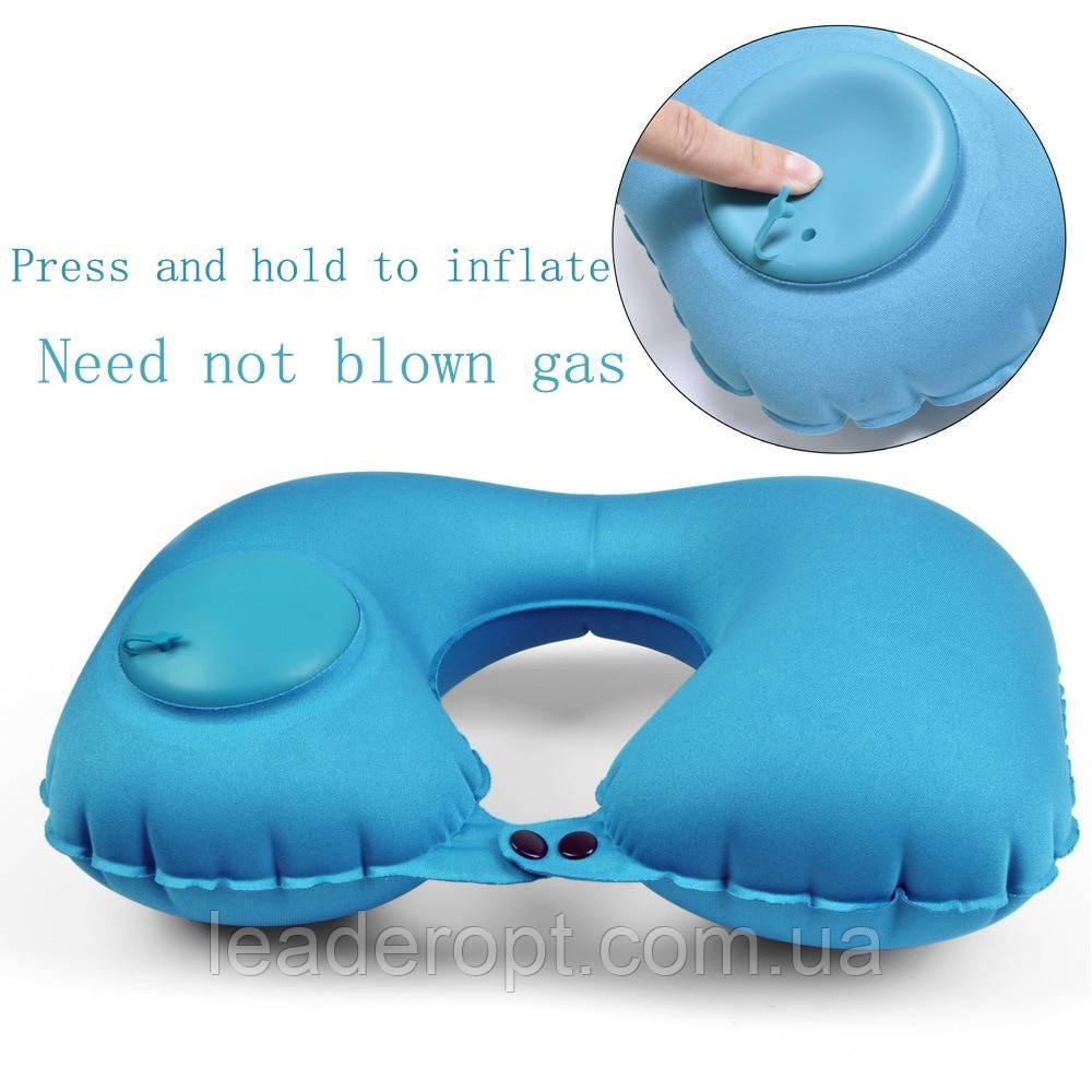 Надувна подушка комір під голову зручна м'яка бархатиста для подорожей ОПТ