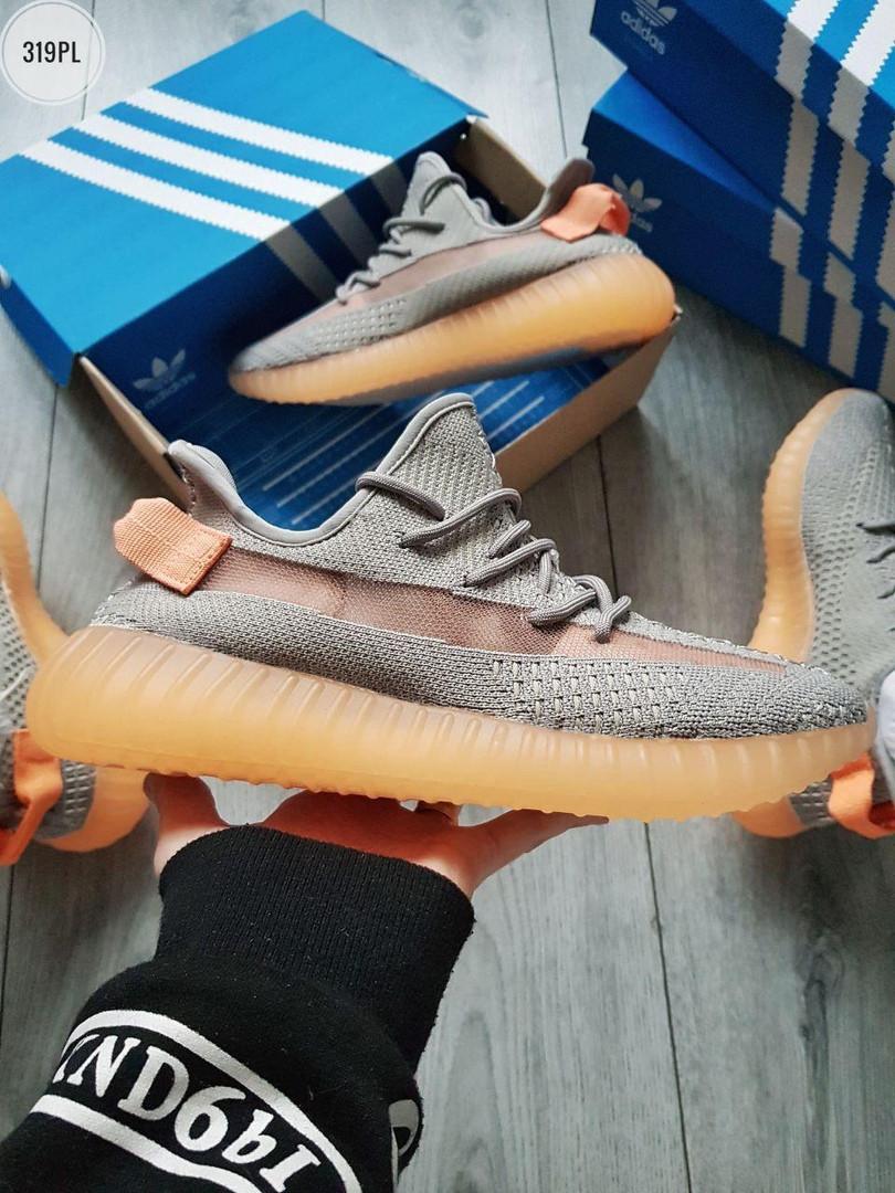 Мужские кроссовки Adidas Yeezy Boost 350 Grey/Orange - 319PL