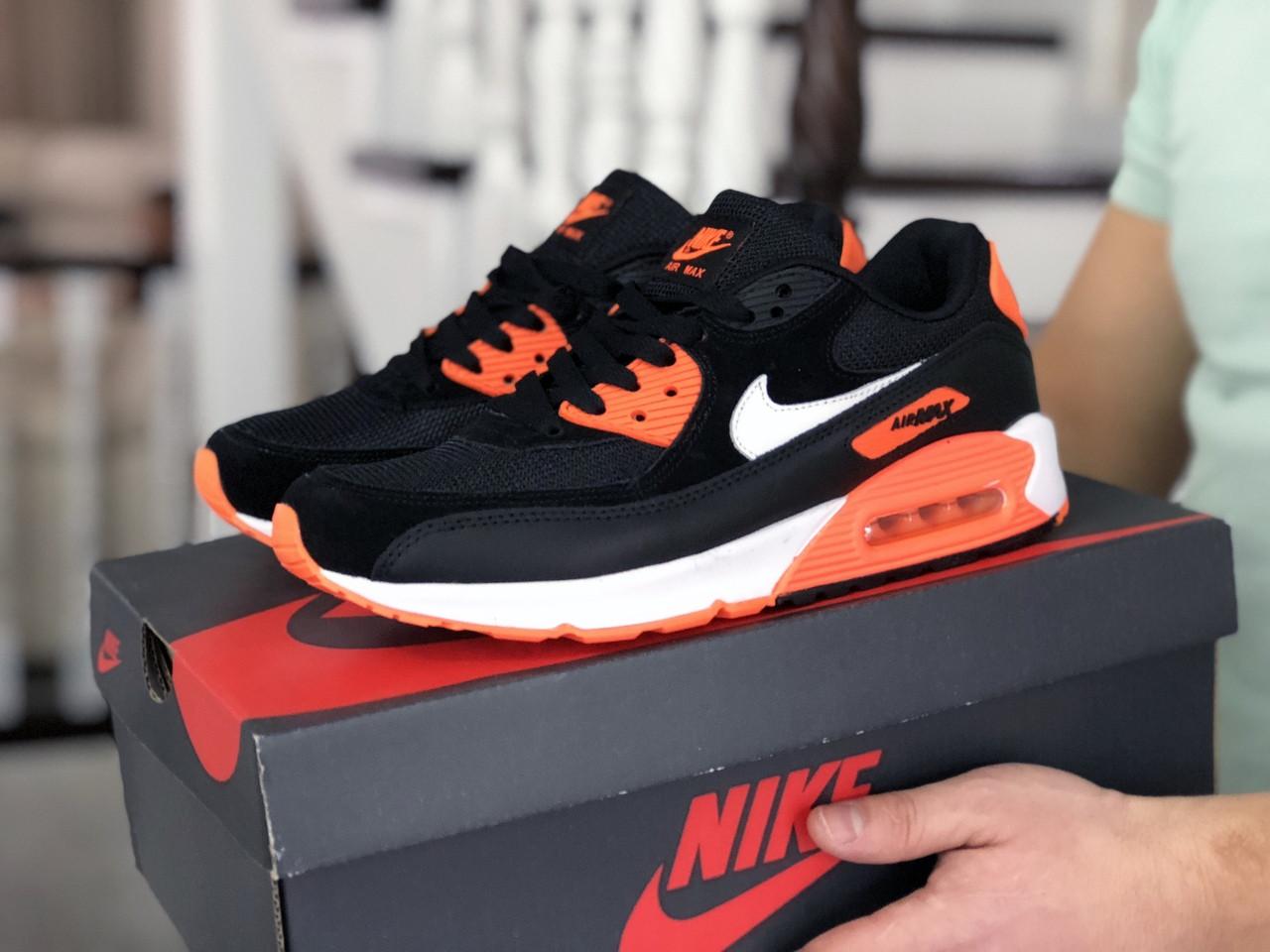 Мужские кроссовки Nike Air Max 90 (черно-белые с оранжевым) 9054