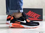 Мужские кроссовки Nike Air Max 90 (черно-белые с оранжевым) 9054, фото 2
